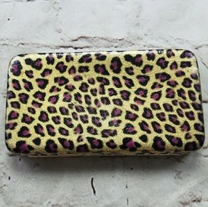 Gold Leopard Print Metallic Clutch Wallet